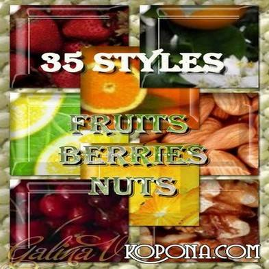Free Fruits, berries and nuts styles for Photoshop