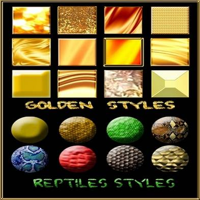 Free Golden Styles and Reptiles is set o styles for photoshop styles