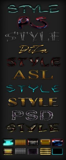 Mix Photoshop text styles ASL+ PSD - 10 styles