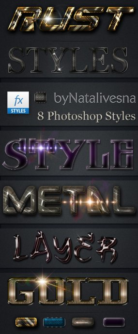Free 8 Gold metal Photoshop Styles - Free download