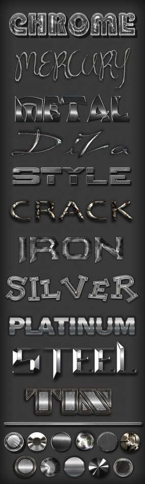 Free Metal Photoshop styles set - chrome, mercury, iron, silver, steel, platinum, tin, crack
