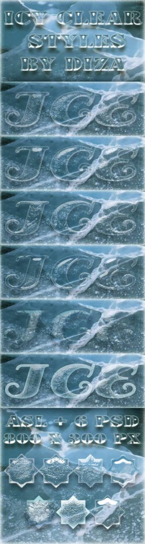 Free Ice clear Photoshop Styles ASL + 6 PSD - Free download