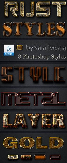 Free 8 metal gold Photoshop layer styles - Free download