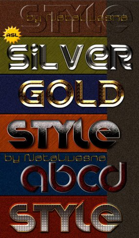 Free 6 Bright mix (silver, gold) photoshop styles - Free download