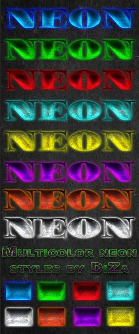 Free Neon styles for Photoshop (ASL + PSD) by Diza