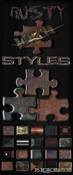 Rusty metal photoshop styles for design