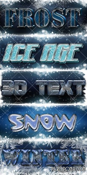 Winter 3D text effect Photoshop style