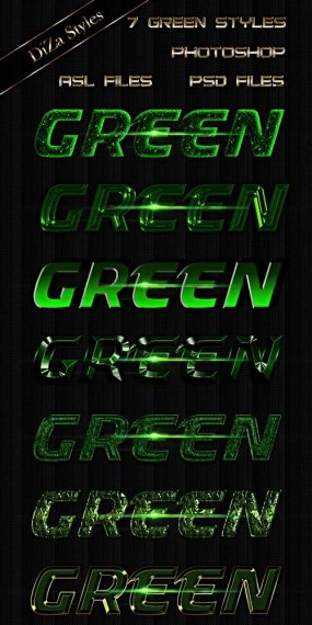 Green Photoshop styles for design