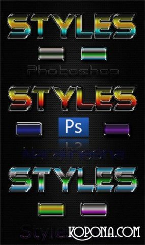 5 Color metal Photoshop Styles